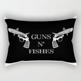 Guns n' Fishes black Rectangular Pillow