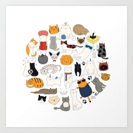cute cat doodles circle #1 Art Print