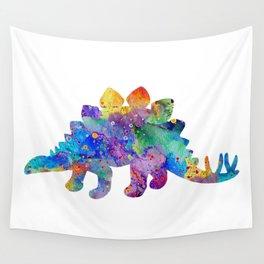 Stegosaurus Dinosaur Art Watercolor Pint Wild Animals Nursery Decor Kids Room Colorful Art Poster Wall Tapestry