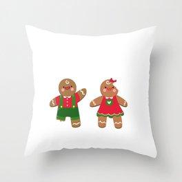 Cute Xmas Christmas Gingerbread Graphic Santa Winter December Throw Pillow