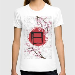 Blooming Sakura and red Sun T-shirt