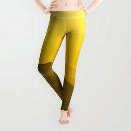 Colorful mountains in clouds - like painting, defocused, abstract yellow sunset illustration Leggings