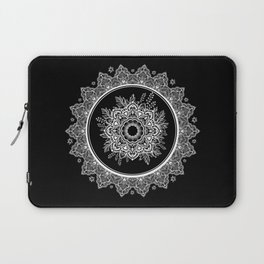 Bohemian Lace Paisley Mandala White on Black Laptop Sleeve