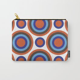 Circle Circle:  Orange, Blue, Turquoise + Brown Carry-All Pouch