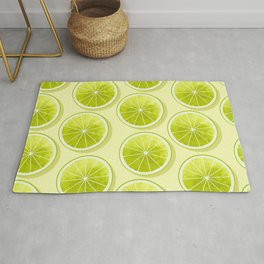 Lime Slices on Light Yellow Rug