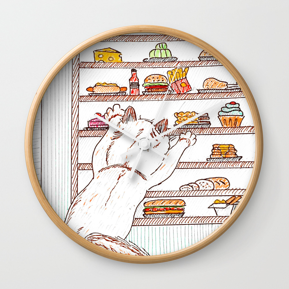 Give Me All The Food! Wall Clock by Auxcrayonsdenel CLK7764967