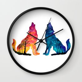 Day & Night Wolves Wall Clock
