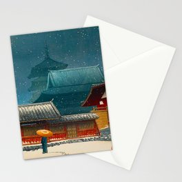Vintage Japanese Woodblock Print Japanese Red Shinto Shrine Pagoda Winter Snow Stationery Cards