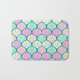 seashells in pink and teal, perfect for a mermaid Bath Mat