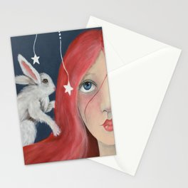 Red Head with Bunny Stationery Cards