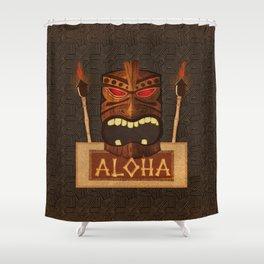 Vintage Wood Tiki Aloha Shower Curtain