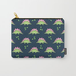Green and Pink Stegosaurus Dinosaur on navy with leaves Carry-All Pouch