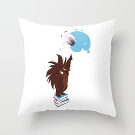 Porcupine and Balloon Throw Pillow