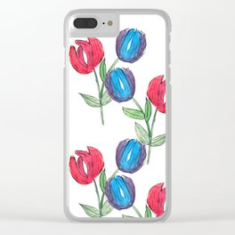 Inked Tulips Clear iPhone Case