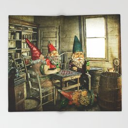 Garden Gnomes Playing Checkers Throw Blanket