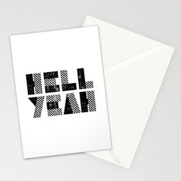 Hell Yeah motivational black and white yeh modern typographic quote poster canvas wall home decor Stationery Cards