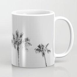 Black Palms // Monotone Gray Beach Photography Vintage Palm Tree Surfer Vibes Home Decor Coffee Mug