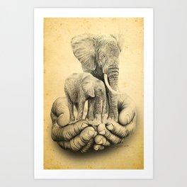 Refuge Elephants Drawing Art Print