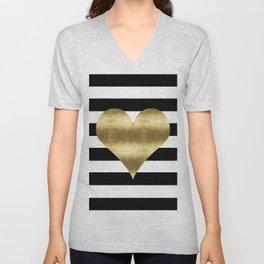 gold heart black and white stripe Unisex V-Neck