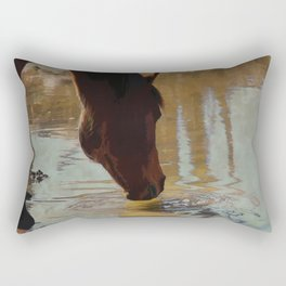 The Watering Hole  - Drinking Percheron Horse Rectangular Pillow