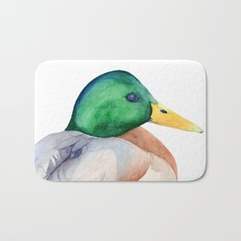 Mallard, Mallard Duck, Duck, Green Head Duck, Watercolor painting by Suisai Genki Bath Mat