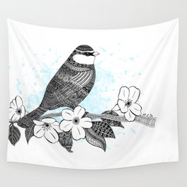 Bird and cherry blossoms Wall Tapestry