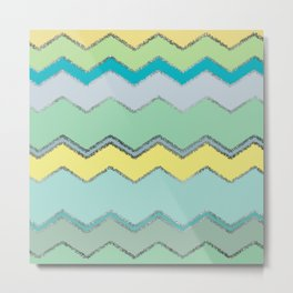 Multi Chevron and Brushed Silver Metal Print