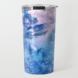 Winter forest in mountains Travel Mug