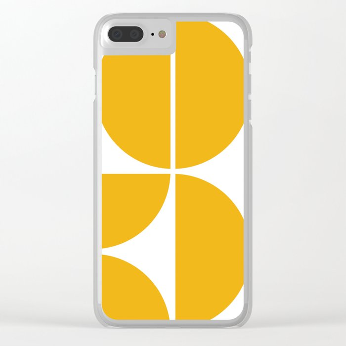 Mid Century Modern Yellow Square Clear iPhone Case