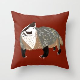 Western American Badger Throw Pillow