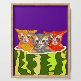 Cats in Watermelon Jacuzzi - Tropical Serving Tray