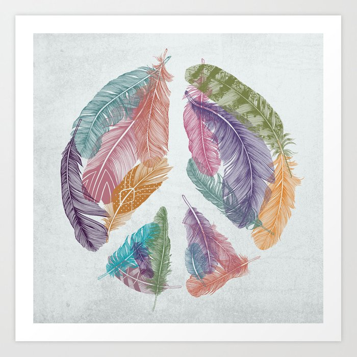 Feathers For Peace Peace Sign Art Print By Thirstyfly