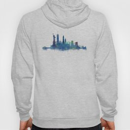 NY New York City Skyline NYC Watercolor art Hoody
