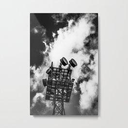 Radio Tower Cloudy Sky bw Metal Print