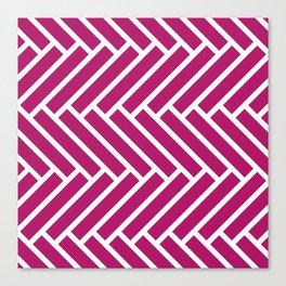 Berry pink and white herringbone pattern Canvas Print