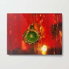 Green Christmas glitter ball Metal Print