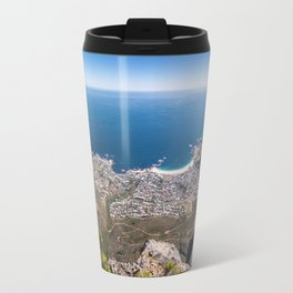 Panoramic view of Camps Bay from Table Mountain in Cape Town, South Africa Travel Mug