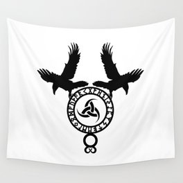 Raven - Triple Horn of Odin Wall Tapestry