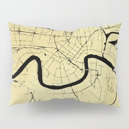 New Orleans Black and Gold Map Pillow Sham