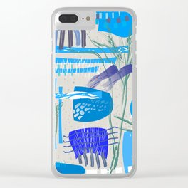 Mid-Century Blues Clear iPhone Case
