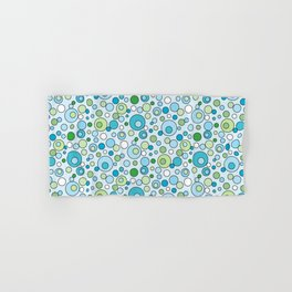 Turquoise Blue and Green Bubbles Spot Pattern Hand & Bath Towel