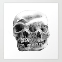 Fused Skull Pencil Drawing Art Print