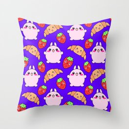 Cute happy funny pink baby bunnies, sweet adorable yummy Kawaii croissants and red ripe summer strawberries cartoon blue pattern design Throw Pillow