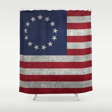 The Betsy Ross flag - Vintage grunge version Shower Curtain