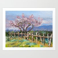 Spring Blossoms Pallet Knife Painting Art Print