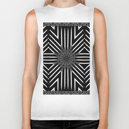 Black and White Rattan Triangles Biker Tank