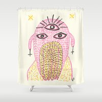 third eye Shower Curtains featuring Third Eye by Nü Köza