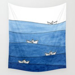 Paper boats Wall Tapestry