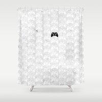 xbox Shower Curtains featuring Xbox One Controller by Tino-George