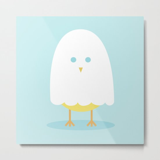 Halloween chick in ghost costume Metal Print